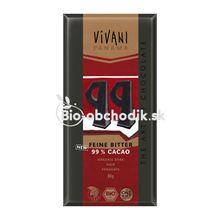 BIO horká čokoláda VIVANI 99% s kokosovým cukrom 80g